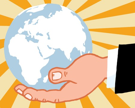 earth handful: Bussines Hand Holding Globe,Backgrounds  Stock Photo