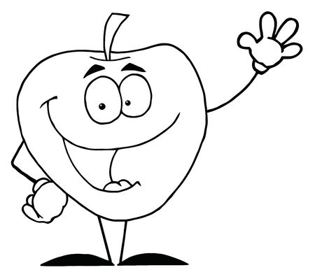 fruit: Outlined Apple Waving A Greeting