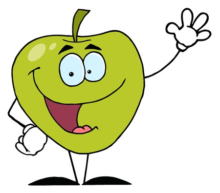 Happy Cartoon Apple Waving A Greeting