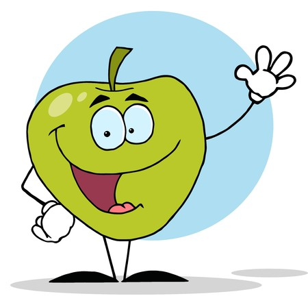 Happy Apple Waving A Greeting
