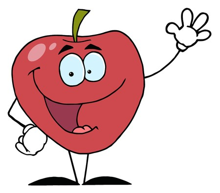Red Apple Waving A Greeting  Stock Photo
