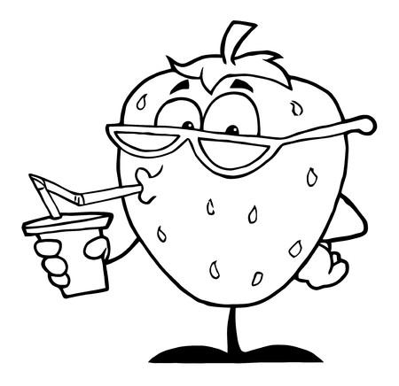 Overzicht van een aardbei Cartoon karakter sap drinken
