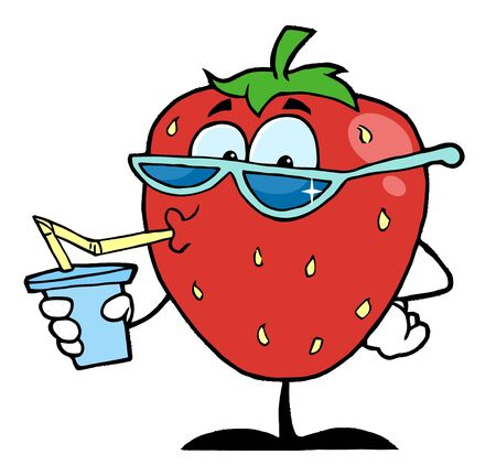 Strawberry Cartoon Character Juice Drink