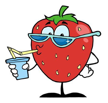 Strawberry Cartoon Character Juice Drink Stock Photo - 7474480