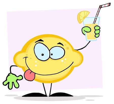 Lemon Mascot Cartoon Character Holding A Glass With Lemonade  photo