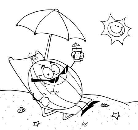 Outlined Cartoon Watermelon Holding A Glass With Juice On The Beach  photo