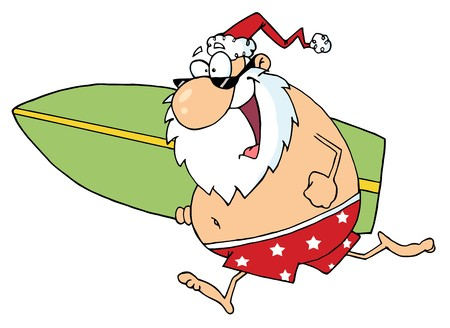 Cartoon Santa Surfer photo