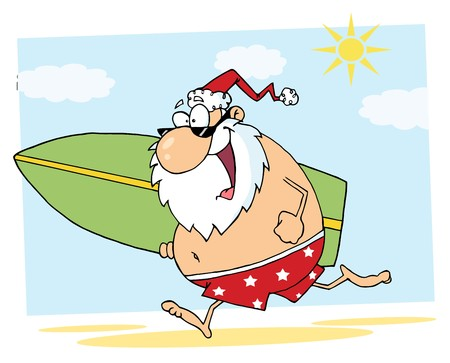 Santa Claus Surfer Mascot Cartoon Character