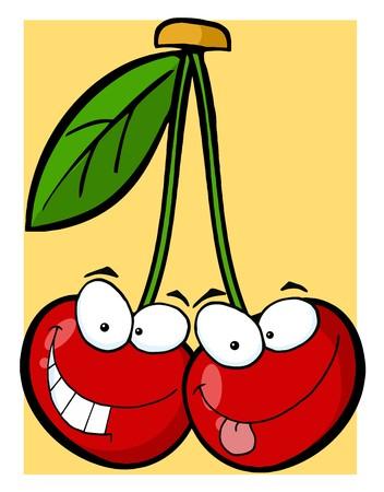 Red Cherry Mascot Cartoon