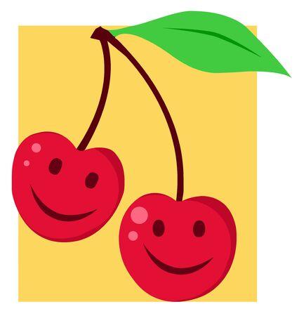 Two Happy Cherries With Smiles  Stock Photo - 7473910