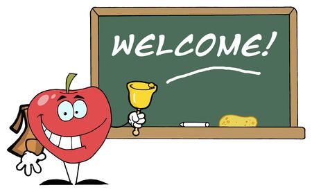 instruct: Apple Ringing A Bell In Front A School Chalk Board With Text -Welcome!