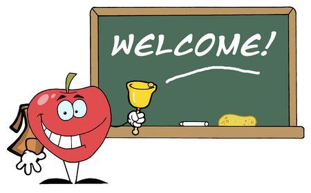Apple Ringing A Bell vorne ein School-Chalk Board mit Text - Willkommen!  Standard-Bild - 7474689