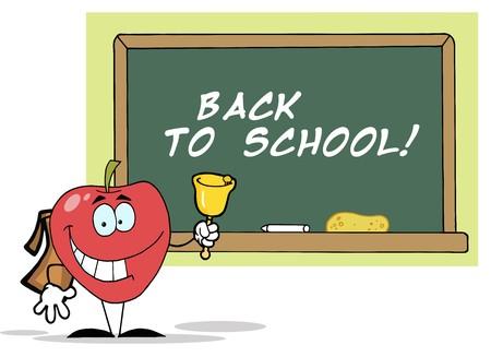 アップルのベルを鳴らしている前のテキストを持つ学校の理事会は、学校に戻る !