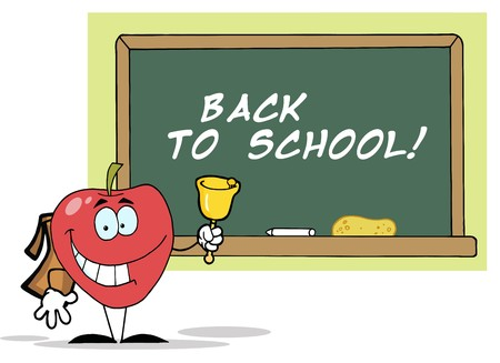 Apple Ringing A Bell In Front A School Board With Text Back to School!