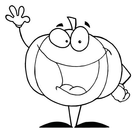 Outlined Pumpkin Cartoon Character  photo