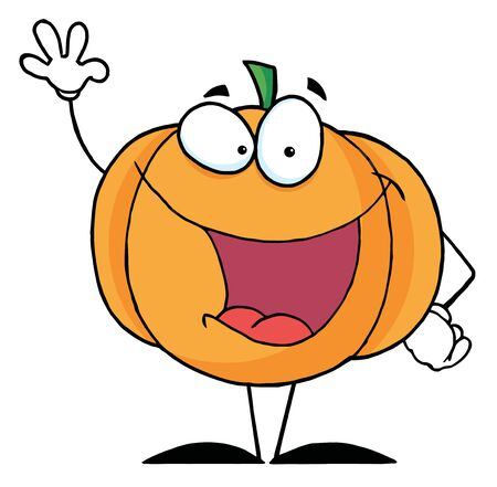 jack o   lantern: Waving Pumpkin Cartoon Character  Stock Photo