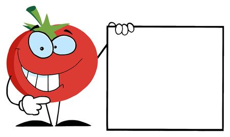 Red Tomato Cartoon Character Presenting A Blank Sign