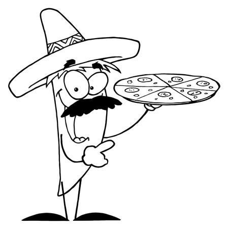 輪郭を描かれたソンブレロ チリのコショウのピザを保持しています。