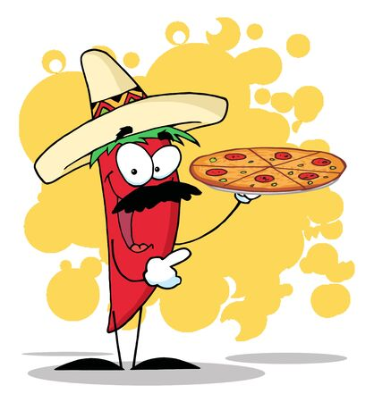 Sombrero Chile Pepper Holds Up Hot Pizza  photo