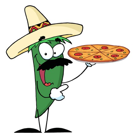 Sombrero Chile Green Pepper Holds Up Pizza  photo