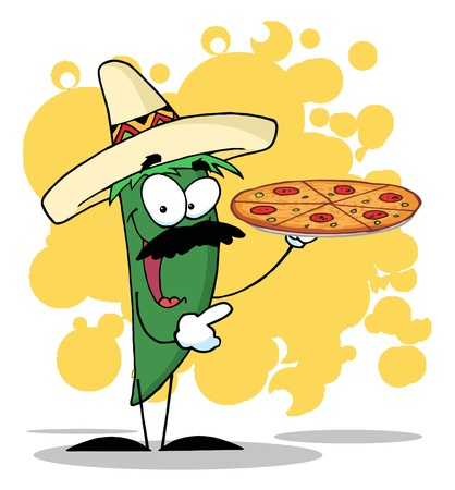 Sombrero Chile Green Pepper Holds Up A Hot Pizza  Stock Photo - 7474678