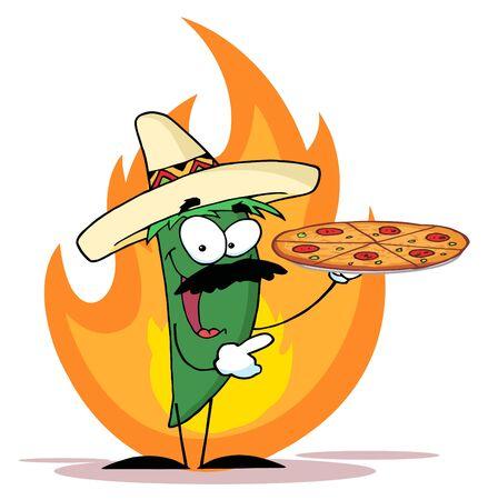 炎のピザを保持しているチリ ピーマン