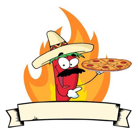 チリ唐辛子を炎、バナーのピザを保持します。 写真素材