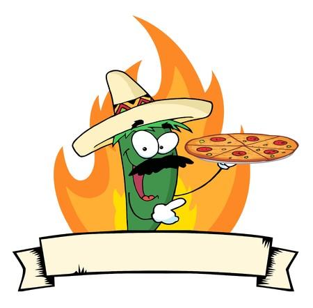 チリ ピーマンを炎、バナーでピザを保持します。