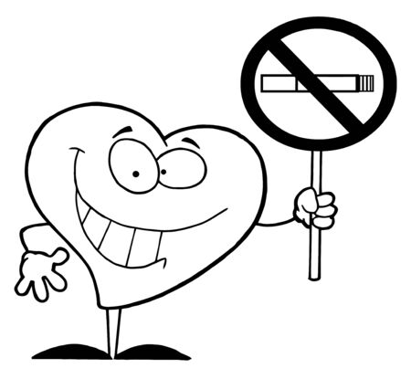 Outlined Red Heart Holding Up A No Smoking Sign  photo