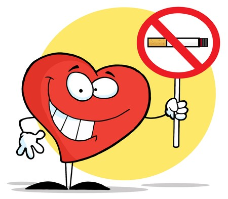 hazard sign: Red Heart Holding Up A No Smoking Sign  Stock Photo