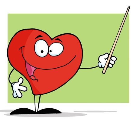 Heart Cartoon Character Holding A Pointer  photo