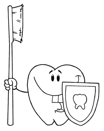 Outlined Happy Smiling Tooth With Toothbrush And Shield  photo