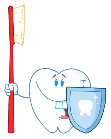 Smiling Tooth With Toothbrush And Shield  photo