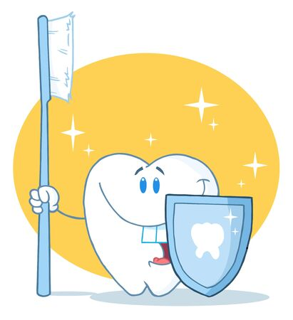 Happy Smiling Tooth With Toothbrush And Shield  Stock Photo - 7487314