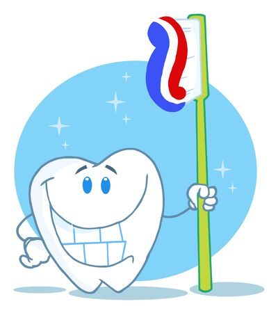 Happy Smiling Tooth With Toothbrush  photo