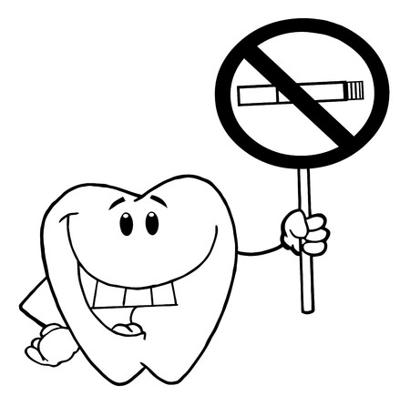 Outlined Smiling Tooth Holding Up A No Smoking Sign  Reklamní fotografie