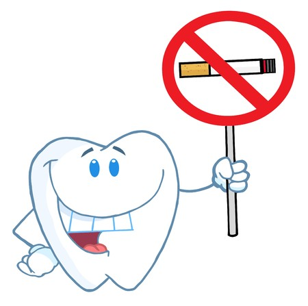 bad teeth: Smiling Tooth Holding Up A No Smoking Sign  Stock Photo
