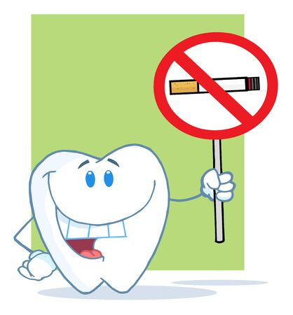 Happy Smiling Tooth Holding Up A No Smoking Sign  Фото со стока