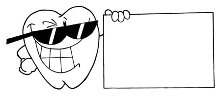 Outlined Tooth Character Presenting A Blank Sign  photo