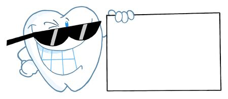 Smiling Tooth Character Presenting A Blank Sign  photo