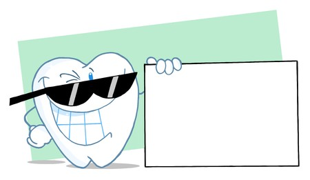 Happy Smiling Tooth Character Presenting A Blank Sign