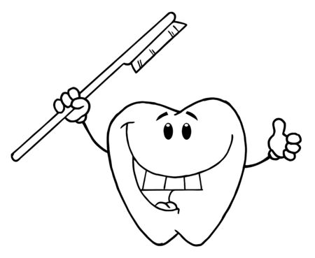 Outlined Vector Smiling Tooth With Toothbrush  photo