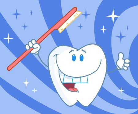 appointments: Vector Cartoon Smiling Tooth With Toothbrush  Stock Photo