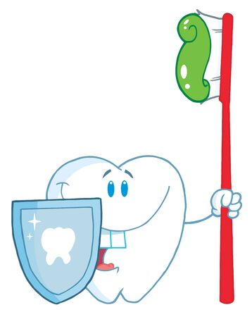Smiling Tooth With Toothbrush And Shield Imagens - 7487320