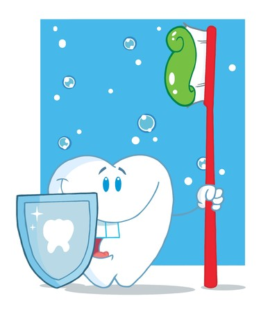 appointments: Happy Smiling Tooth With Toothbrush And Shield  Stock Photo