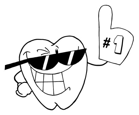 Outlined Smiling Tooth Cartoon Character Number One  photo