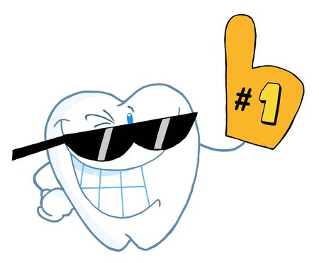 cleaning teeth: Smiling Tooth Cartoon Character Number One