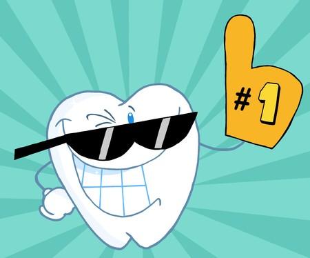 dientes caricatura: Sonriendo Tooth Cartoon mascota car�cter n�mero uno