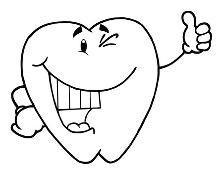 Outlined Happy Smiling Tooth Cartoon Character  photo