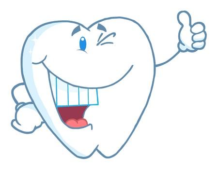 Happy Smiling Tooth Cartoon Mascot Character  photo